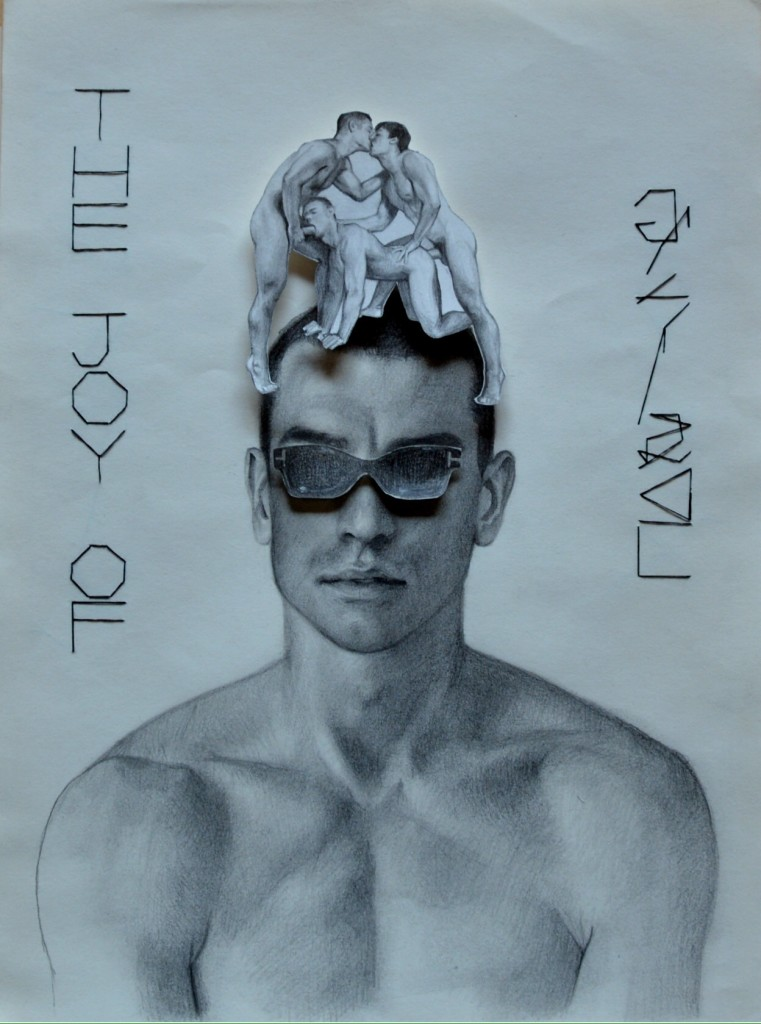 Gonzalo Orquín, The joy of gay sex, 2015, cm 40 x 30, matita e ritaglio su carta. Courtesy Gammalambda Ltd, London
